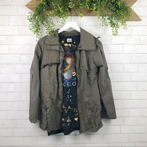 Forever 21 Military Field Green Cargo Jacket SZ S